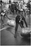 Women Rolling Kegs 1966 Archival Photo Poster Print Poster