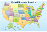 United States of America Map Educational Poster Print Posters