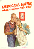 Americans Suffer When Careless Talk Kills WWII War Propaganda Art Print Poster Posters