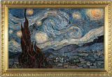 Starry Night Poster with Gilded Faux Frame Border Masterprint