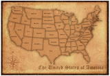 United States Vintage Style Map Poster Print Print