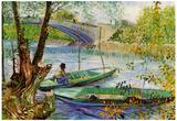 Vincent Van Gogh Fishing in Spring Art Print Poster Posters
