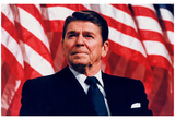 President Ronald Reagan (American Flag) Art Poster Print Photo