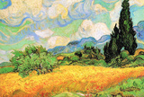 Vincent Van Gogh Wheat Field with Cypresses near Eygalieres Art Print Poster Fotky