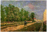 Vincent Van Gogh Outskirts of Paris Road with Peasant Shouldering a Spade Art Print Poster Posters