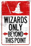 Wizards Only Beyond This Point Sign Poster Julisteet