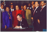 President George H.W. Bush (Signing Martin Luther King Holiday Proclamation) Art Poster Print Prints