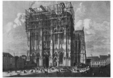 Jacob Scheiner (Cologne, Cathedral, West towers under construction) Art Poster Print Photo