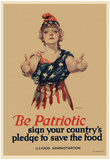 Be Patriotic Sign Your Country's Pledge to Save the Food WWI War Propaganda Art Print Poster Posters