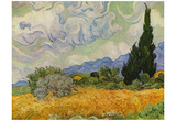 Vincent Van Gogh (Wheat field with cypresses) Art Poster Print Prints