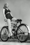Bicycle Pinup Girl Archival Photo Poster Print Masterprint