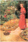 Childe Hassam Woman Cuts Roses in a Garden Art Print Poster Posters