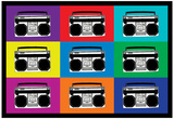 Boombox Stereos Pop Art Print Poster Obrazy