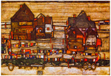 Egon Schiele Houses with Laundry Lines and Suburban Art Print Poster Photo