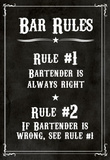 Bar Rules The Bartender is Always Right Sign Art Print Poster Masterprint