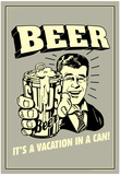 Beer Vacation In A Can Funny Retro Poster Plakat