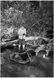 Boy Fishing with Bear Archival Photo Poster Print