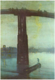 James Abbot McNeill Whistler (The old Battersea Bridge: Nocturne Blue and Gold) Art Poster Print Posters