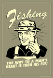 Fishing Way To Man's Heart Through His Fly Funny Retro Poster Masterprint