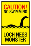 Caution Loch Ness Monster Sign Art Poster Print Masterprint