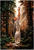 Indian Maiden Pray in Woods Art Print Poster Lámina