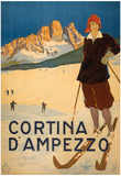 Cortina D'Ampezzo Skiing Vintage Ad Poster Print Pôsters