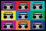 Boombox Stereos Pop Art Print Poster Masterprint