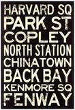 Boston MBTA Stations Vintage Subway RetroMetro Travel Poster Masterprint
