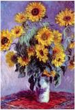 Claude Monet (Still life with sunflowers) Art Poster Print Print