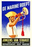 De Marine Roept Jongens van Stavast Departement der Marine WWII War Propaganda Art Print Poster Posters