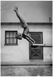 Boy Diving into Pool Archival Photo Poster Print Photo