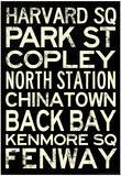 Boston MBTA Stations Vintage Subway Travel Poster Prints