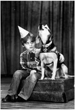 Boy and Howling Dog Archival Photo Poster Posters