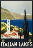 Italian Lakes Tourism Vintage Ad Poster Print Plakát