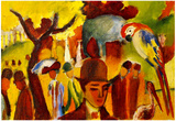 August Macke Small Zoological Garden in Brown and Yellow Art Print Poster Posters