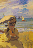 Claude Monet Camille Monet on the Beach at Trouville Art Print Poster Masterprint