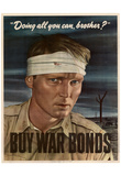 Doing All You Can Brother Buy War Bonds WWII Propaganda Art Print Poster Prints