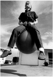 Boy on Bouncing Ball Archival Photo Poster Poster