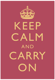 Keep Calm and Carry On Motivational Rose Pink Art Print Poster Posters
