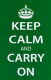 Keep Calm and Carry On (Motivational, Green) Art Poster Print Masterprint