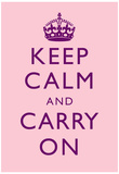 Keep Calm and Carry On Motivational Pale Pink Art Print Poster Posters