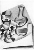 Juan Gris Carafe, Glass and Chessboard Cubism Print Poster Posters
