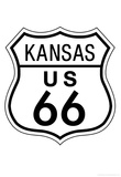 Kansas Route 66 Sign Art Poster Print Poster
