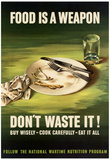 Food is a Weapon Don't Waste It WWII War Propaganda Art Print Poster Posters