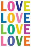 Love (Colorful, White) Art Poster Print Masterprint