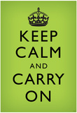 Keep Calm and Carry On (Motivational, Faded Medium Green) Art Poster Print Posters