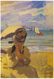 Claude Monet Camille Monet on the Beach at Trouville Art Print Poster Posters