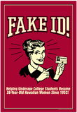 Fake ID Underage College Students Older Hawaiian Women Funny Retro Poster Poster