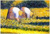 Georges Seurat Farmers at Work Art Print Poster Prints