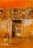 James Whistler Courtyard on Canal Grey and Red Art Print Poster Masterprint